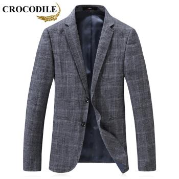 ワニのTシャツ(CROCODILE)スーツ男2019新品青年ビジネス略装格子小さいスーツ紳士修身単西外套男D 2169807灰色195/4 XL