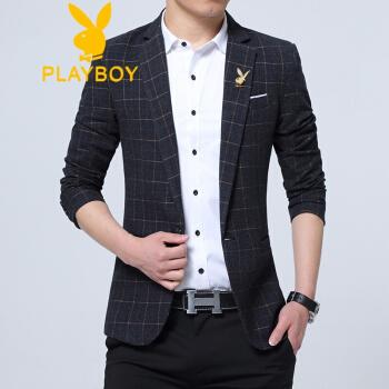 プレイボーイ春秋季男性韓国式修身小さいスーツの格子はスーツのコートの大きいサイズの私服の単西の黒いXL 105斤内を少し詰めます。