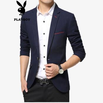 プレイボーイの男性のスーツ2018年春秋新品韓国式修身純色少し小さいスーツの男性の上着の青年はアイロンフリーでしわに強いスーツのコートが湿っています。