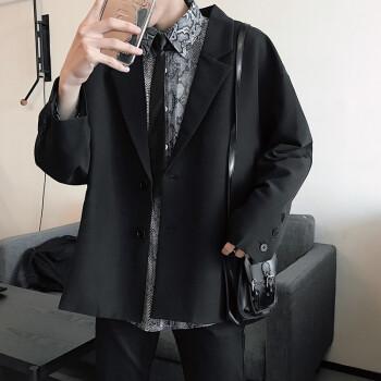 古莱登2019春新品の香港風ブレザー男性韓国式ゆったりとしたレトロミニスーツ学生用単西上着黒M