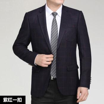 キツツキの中年スーツ男子19春秋新品中老年男性大サイズスーツビジネスお父さんの服の大きなサイズの紫色180【160-170斤】
