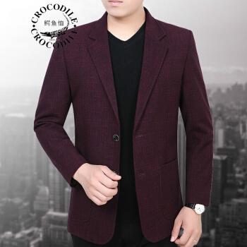 ワニのTシャツスーツの男性は少し身を装飾します。韓国式男性スーツの上着単品2018年春新品の中年スーツ5120ワインレッド170 M