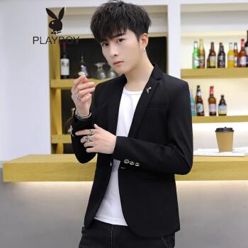プレイボーイPLAYBOY春の男性の小さいスーツは少し韓国式の修身服の上着の髪形師の格好が良い英倫のスーツのオーバーおしゃれの黒い小さいハチの2 XLを詰めます。