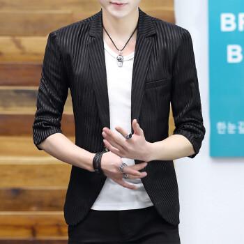 若楠枫・夏の新商品韩国式ファンシーの透かし雕りの薄いストラック男性の纯色は少ないです。いいです。七分袖の西ジャです。