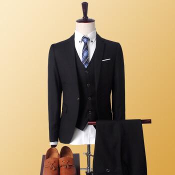 スーツスーツスーツ男性三点セット韓国式修身正装新郎結婚ドレスイギリスプロスーツ2019新品ジャケットズボンベストサイズ1652黒XL