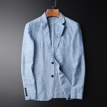 真欧の萱の亜麻のスーツの男性の青年は上着の新商品を修理します。春と秋のビジネスは色の綿麻の単に西のオーバーの男性の青い106117 Lを少し詰めます。
