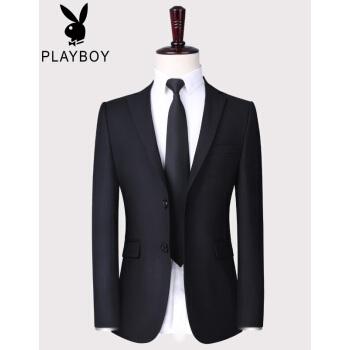 プレイボーイスーツ男性スーツ修身韓国式ビジネス男性スーツスーツスーツスーツ職業正装コート新郎結婚披露宴ドレス黒双ボタン上着170