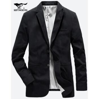 七匹のオカミ春秋のスーツ男性の小さいスーツの男性の修身ジャケット韓国式上着ビジネスかっこいい単西001(黒)-進級版175/92 A/XL