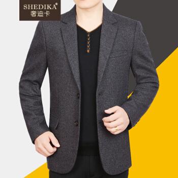 デラックスカードブランド軽豪メズスーツ男性冬新商品かっこいい中年男性ビジネススーツ男性修身韓国式スーツ上着灰カレー180