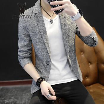 プレイボーイPLAYBOY 2019新品春メンズスーツスーツ修身韓国風小さいスーツ男性用ジャケットかっこいい青年ファッション灰色165/M