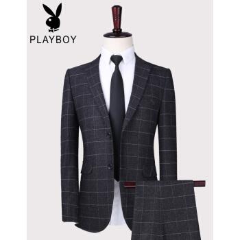 プレイボーイスーツスーツ男性ビジネス職業略装格子スーツスーツスーツ花婿随郎結婚ドレスグレー二点セット170