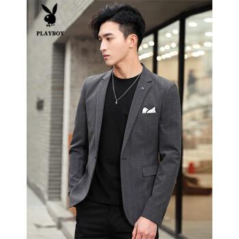 プレイボーイ(PLAYBOY)スーツ男性2019春服新品ビジネススーツ男性スーツジャケット韓国式修身ユニフォームA 10ダークグレーL