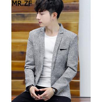 MR.ZFメンズスーツ2019年春新品韓国式修身職業服無料コートビジネススーツT 56灰色L