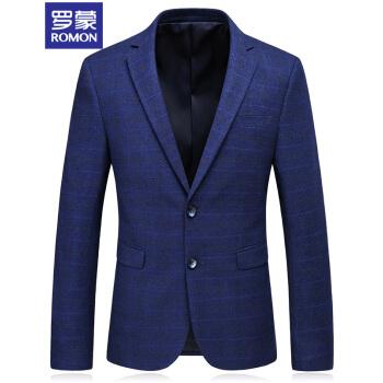 ロモン(ROMON)スーツ男2018秋新品メンズビジネス略装単西小さいスーツ格子修身スーツ男青単西2 XL