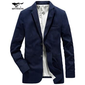 七匹のオーカミスーツ男性春季男性スーツファッション少しビジネス単西純綿青年新品韓国式ビジネススーツ101(チベット)-レベルアップ版175/92 A/XL