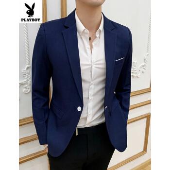 プレイボーイ(PLAYBOY)スーツ男性コート青年韓式修身春ビジネススーツスーツスーツスーツスーツスーツスーツ男性紺XL