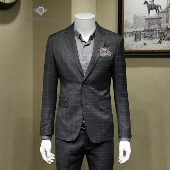 ANDSEEYOUファッションブランドのチェックのスーツの上着男性2019ビジネススーツの上着おしゃれ英倫風に身を修める格好のダブルスリットの薄いタイプの西灰黒56