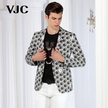 VJC/威杰斯2017春の服装の新品の幾何学模様はスーツを少し包装し、軽薄便単西B 6 A H 273黒170(M)48