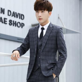 ソロヤスーツ男性は青年イギリス風スーツに身を修める男性スーツです。韓国式カッコイイ格好いいです。ビジネススーツの濃い灰色のM/ズボンの29