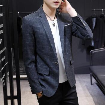 富貴鳥スーツ男性2019春新品男性ジャケットファッションおしゃれ単西ビジネスパーマフリースーツ上着深灰色M