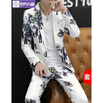 型男性マスター秋のスーツコート男性韓国式ファッションデザイナーナイトメーズスーツ略装スーツ修身かっこいい2点セットの白170