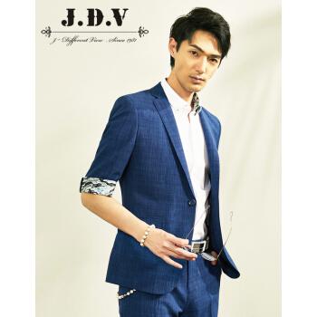 JDVメンズ2019年春新品男性中袖スーツ通勤純色男性スーツブルー170/88 A/S