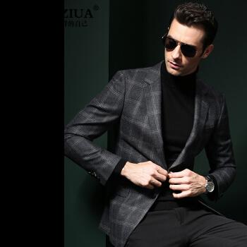 CMLZUAブランドチェックスーツ男性2019春新品純毛小さいスーツ男性ビジネス180/XL