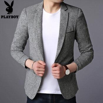 プレイボーイ(PLAYBOY)スーツの男の上着と春服の青年が身を修めるだけで、西メンズコートビジネススーツの薄い灰XL。