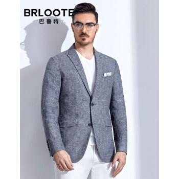 Brloote/バルトスーツ男性ファッション少し花紗ストライプチェック西綿麻薄手スタイル修身シングルスーツ2019春服新品ブルー175/96 A