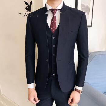 プレイボーイPLAYBOYビジネスマンスタンドカラーの中山服三点セットの男性用一錠のバックル修繕スーツスーツ男性スーツ黒48(M)