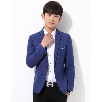 スーツのメーンズの新商品は洋服を少し詰めます。韓国式修身秋のファッション的なチェックの男性コートの上着は青年の格好がいいです。