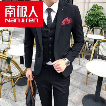 南極人スーツ男性三点セット青年韓式修身スーツに花婿の結婚服イギリス風正装黒50(L)