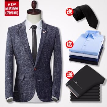 【四点セットスーツ+ズボン+シャツ+黒ネクタイ】男性スーツスーツスーツスーツスーツスーツスーツブルー+白シャツ+1555黒ズボン+ネクタイXLズボン31