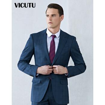 威可多VICUTU春秋ブルースーツの上着とウールの桑蚕糸紡績ダークチェックのスーツVBS 177112361ブルー175/96 B