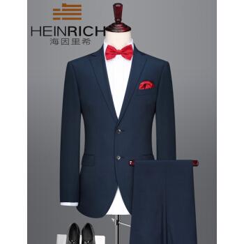 ハインリッヒスーツ男性2019新品ファッション修身ウールビジネススーツ男性紳士職業正装男性青180/96 A
