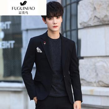富貴鳥の軽い贅沢ブランドの男性は小さいスーツを少し詰めます。冬の新商品は韓国式です。服装を少し整えた上着の青年です。