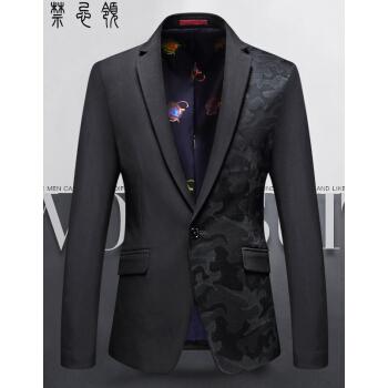 スーツ男性春季新品韓国式修身メンズ短いスーツビジネス中青年薄手のファッション私服単西外套男黒迷彩L