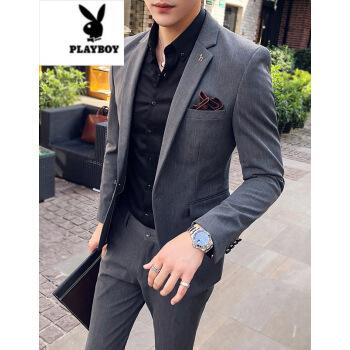 【メンズが好ましい】プレイボーイビジネス少しストライプの小さいスーツ男性セット韓国式修身かっこいいスーツセット2点セットの中、灰色のスーツ+ズボン2 XL