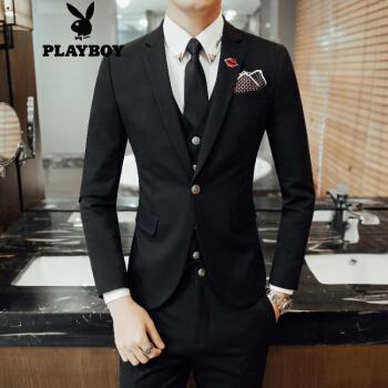 プレイボーイスーツ男性花婿礼服韓国式修身職業外套英倫風カッコイイ小ぶりスーツ3点セット黒L(50)