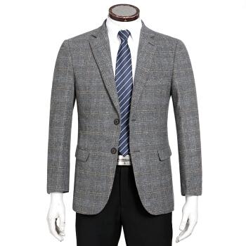(ブランド自営)2018年秋冬新品の逸品厚いウール単西中青年男性ゆったり格子礼服襟スーツ浅灰色180/96 Aは151-1565斤に適合する