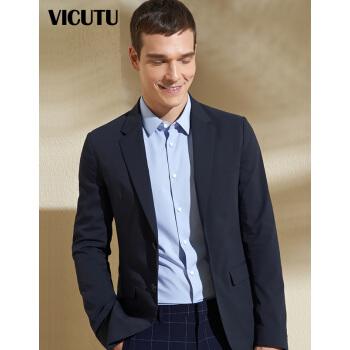 ヴィクトル多VICUTUスーツ男性修身ビジネスコート青年ダークボーダー男性スーツVRES 811035ディープブルー175/96 B