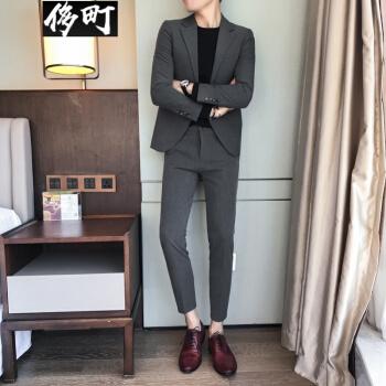 栄華町のかっこいい韓国風の男性のスーツのセットです。秋のジャケット型男性のヘアスタイリストのスーツスーツスーツスーツのファッションは濃い灰色のスーツとズボンLです。