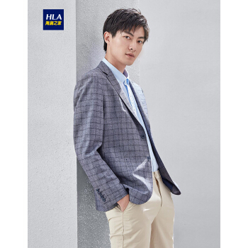 HLA海澜の家格紋略装洋服2019春新品ビジネス修身金単西外套男HWXAD 1 R 021 A青灰色格子紋21 175/96 B