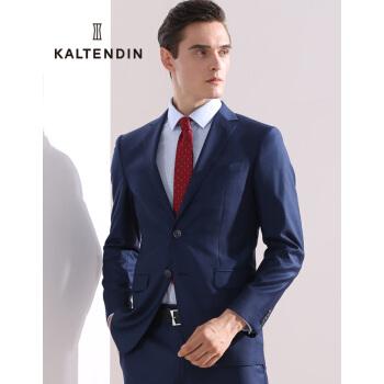 カールデントン(KALT ENDIN)ビジネスマンズ純色ウールビジネススーツにスーツの外套男性青46 A(ズボンのサイズは備考をお願いします。)