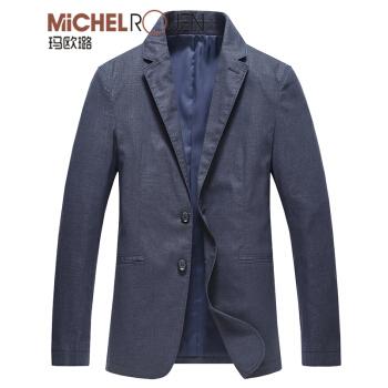 マカロル2019ビジネス薄スーツ男性用単西外套春柄男性亜麻略装スーツブルー170/88 M