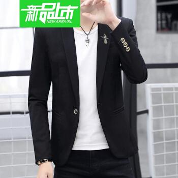 【新品ファッション】ハンセンファッション2019陽光かっこいい春の夏の新商品洋服韓国式修身メンズコート若者格好良いスーツおしゃれメーズR春の小鳥ブラック175/XL