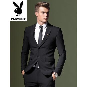 プレイボーイ(PLAYBOY)プレイボーイスーツ男性ビジネス少し身を饰ります。韩国式スーツかっこいい男性コート青年结婚式礼服K 324黒ダブルバックルM