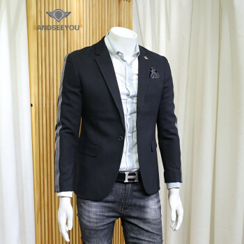 ANDSEEYOUファッションブランドの逸品男性修身スーツ2019春新品ファッション英倫風結婚ドレス単西上着男性青年スーツスーツファッション黒2 XL=54【やや小さいサイズ】
