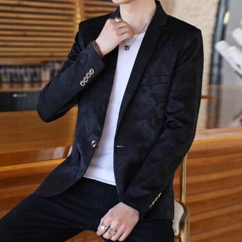 2019新品男性スーツ修身韓国式スーツ男性外套季青年かっこいいです。プリント個性の小さいスーツ黒いM