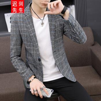 遅刻様2019春服装青年修身格子プリントフラットカラーステッチスーツ韓国式ファッション小さいスーツジャケット男性青XL